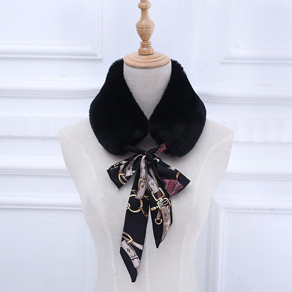 Winter Imitation Fur Silk Scarf