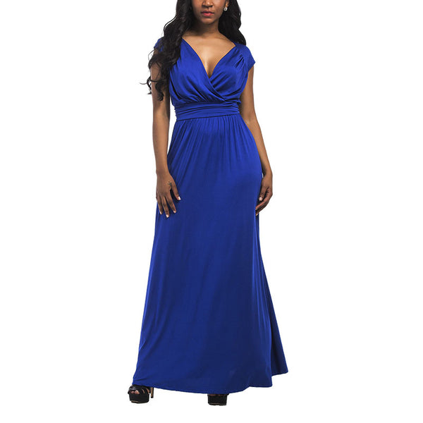 Women Solid Dress Slim Sexy Fat Evening Dress Party Dress