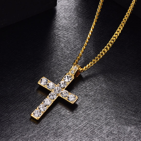 1PC Fashion Cross-shaped Pendant With Rhinestone Men's Necklace