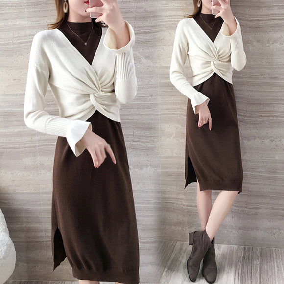Women's Winter New Fashioned Long Sleeve Two-Piece A-line Knit Sweater Dress