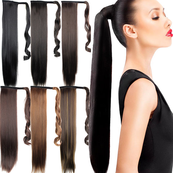 Long Straight Lace Up Elegant Synthetic Ponytail