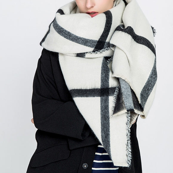 Woman Autumn Winter Warm Grid Kniting Scarf