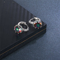1 Pair Women Simple Fashion Multicolor Crystal Ear Stud Earrings Jewelry Stud Earrings