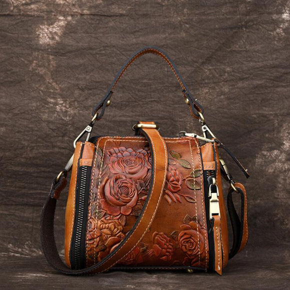 Vintage Real Leather Totes Zipper Adjustable Bags