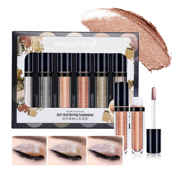 6 Pieces Diamond Pearlescent Liquid Eyeshadow Set