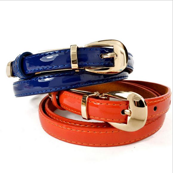 Genuine Cowhide Leather Metal Buckle Thin Casual Leather Belt Straps Waistband