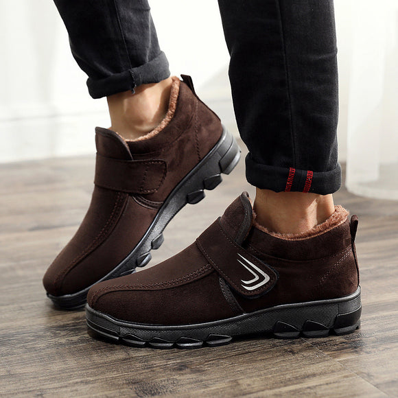 Men's Casual Antiskid Wear-resisting Keep Warm Thickening Microsuede Cotton Shoes Snow Boots