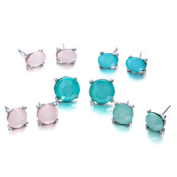 5 Pair Women Pinkycolor Geometric Zircon Earrings