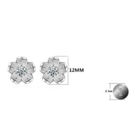 1 Pair Cute Sakura Earring Elegant 925 Sterling Silver Stud Earrings