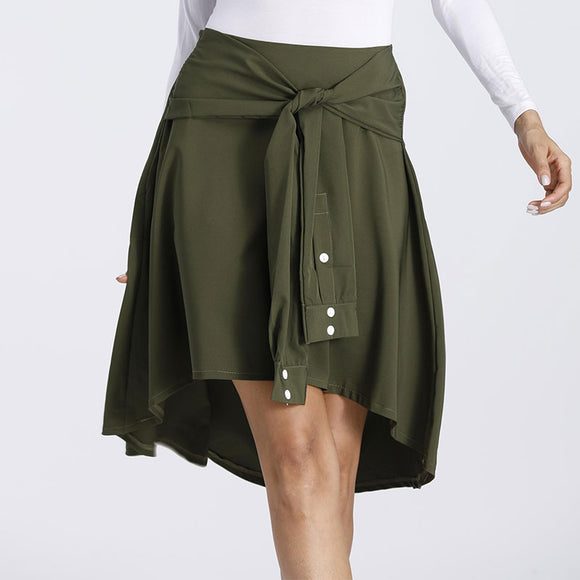 Women Mid-Long Skirts High-Waist Irregular Imitation Shirt Sleeve Skirts