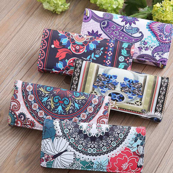 Women's Vintage Floral Printed Wallet  Leather Purse