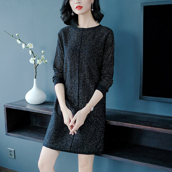 Women's Autumn Winter Loose Long Sleeve A-line Knit Dress