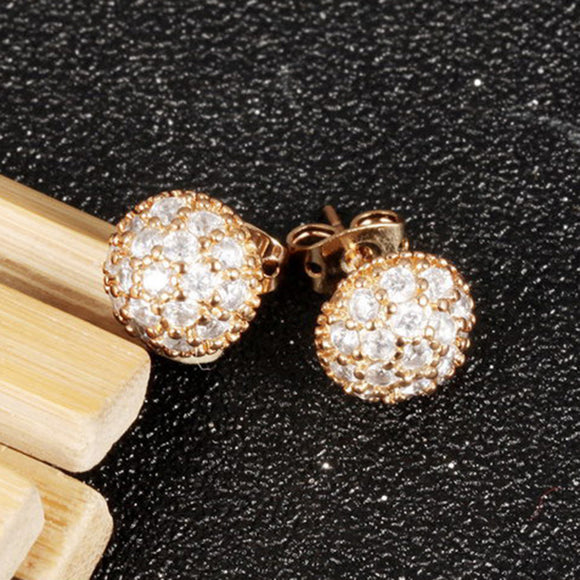 1 Pair Elegant Lovely Round Ball With Rhinestone Women's Stud Earrings