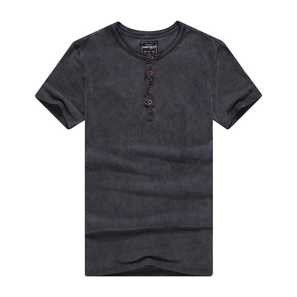 Men's Summer Cotton Washed Vintage Slim Fit Short-sleeve T-shirt