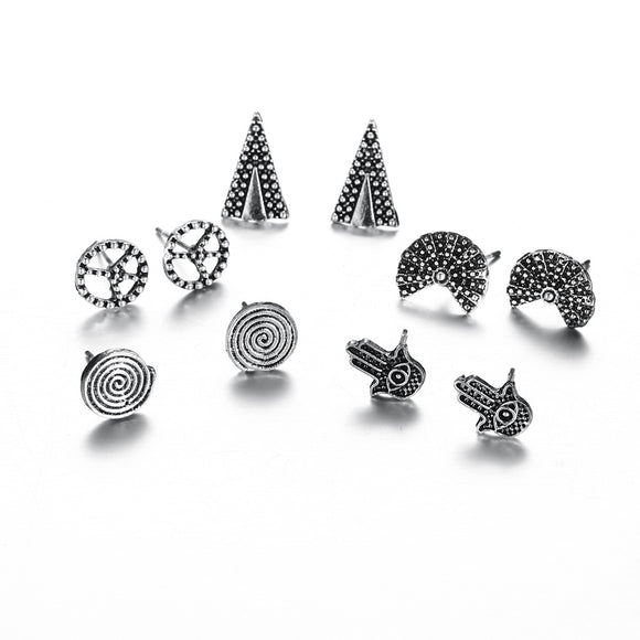 5 Pair Women Screw Fan Triangle Earrings