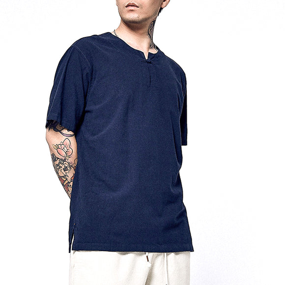 NEER Men's Summer Linen and Cotton Loose Thin Chinese Style Short Sleeve Top