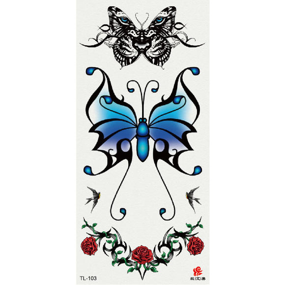 9*19CM Body Art Butterflies and Flowers Waterproof Tattoo Stickers Temporary Tattoo