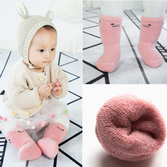 3 Pairs/pack Baby Thick Warm Cotton Blend Socks Children Winter Socks