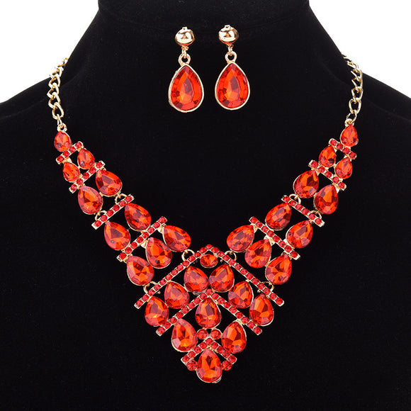 3pcs/set Fashion Waterdrop-shaped Pendant With Rhinestone Women's Necklace Earrings Jewelry Sets