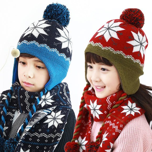 Children Autumn And Winter Knitting Wool Keep Warm Ear Protection Hat And Scarf Two-piece