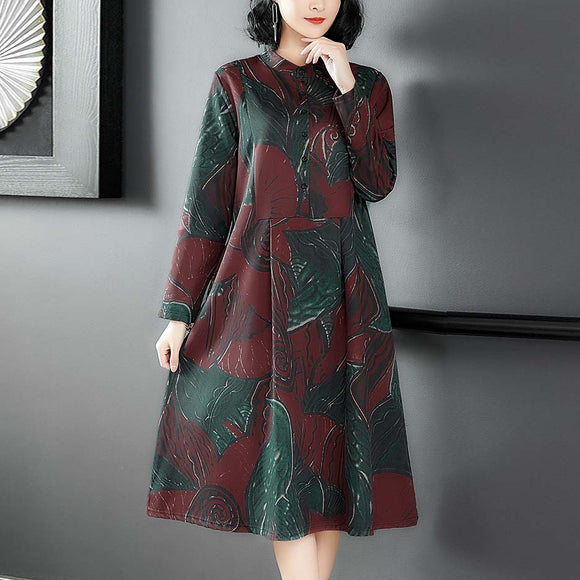 Medium - Length Loose - Sleeved Vintage Dress
