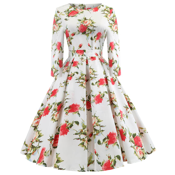 Women Elegant Vintage Round Neck Stretch Print Dress