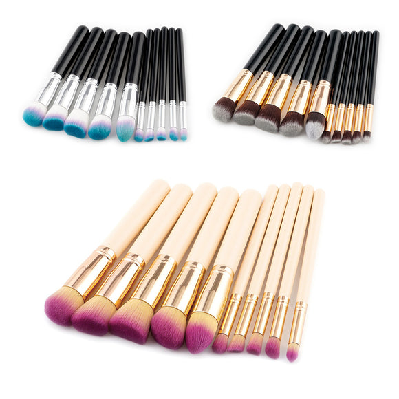 10Pcs Professional Makeup Brush Sets 3 Colors Wools