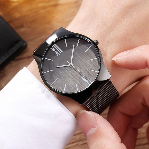 Fashionable Steel Mesh Watchband Casual Quartz Watch For Men