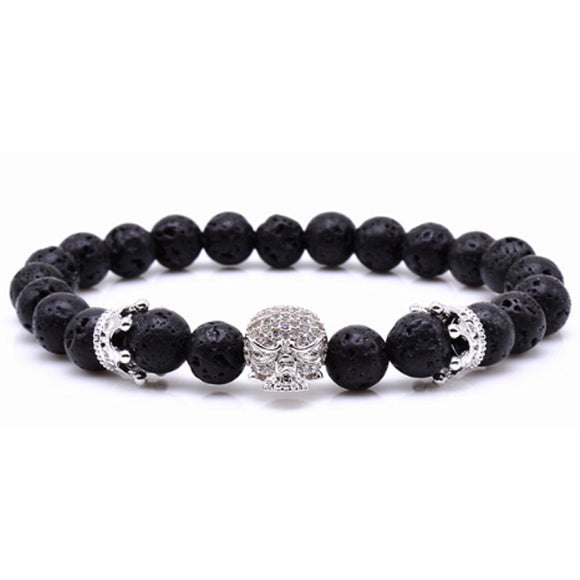 1PC Natural Stone Beaded Skull Crown Shaped Pendant Unisex Bracelet