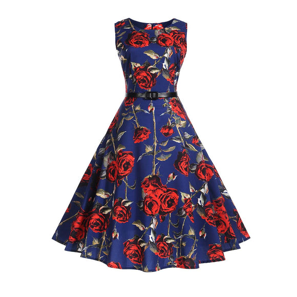Valentine's Day Hepburn Round Neck Printed Vintage Dress