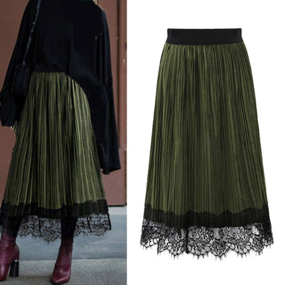 Vintage High Waist Lace Skirt Pleuche Skirt Elastic Waistband Women Skirt
