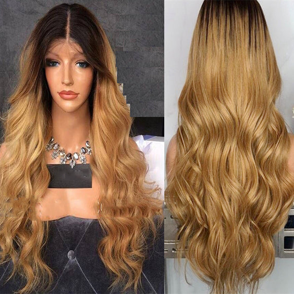 Long Center Parting Dark Root Ombre High Quality Charming Synthetic Wig