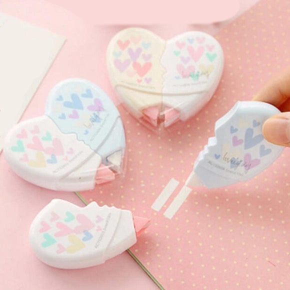 Heart Shape 2 PCS Correction Tape Lover Set School Office Stationery School Supplies