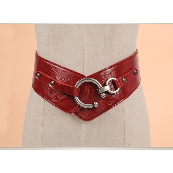Genuine Cowhide Leather Metal Buckle Wide Elastic Casual Leather Belt Straps Waistband
