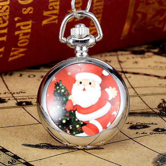 Women New Christmas Gift Reindeer Sleigh Snowman Santa Pocket Watch