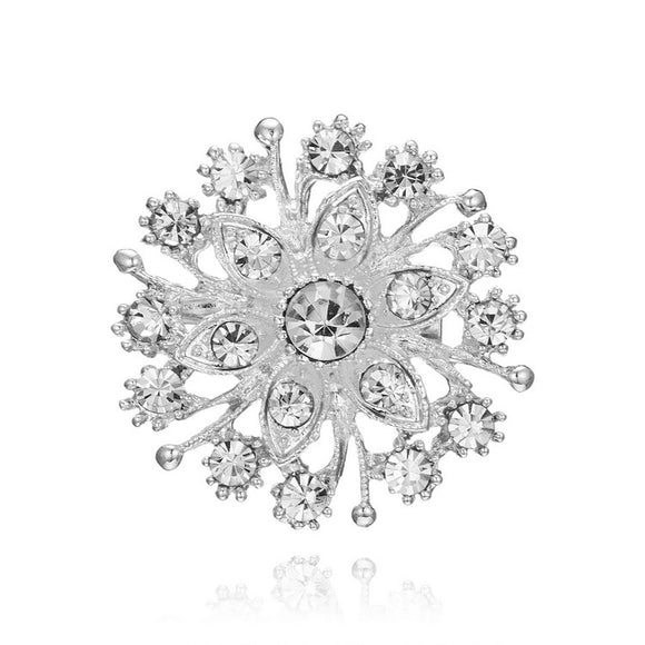 Fashion Round Snowflake Brooch Wedding Gift