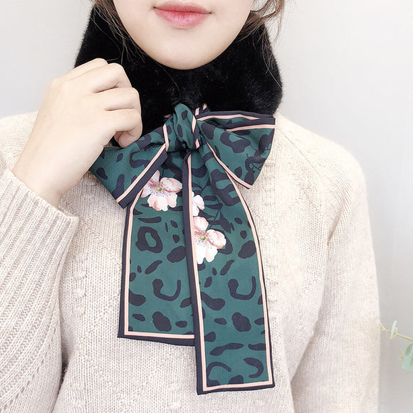 Winter Leopard Print Imitation Fur Ribbon Scarf