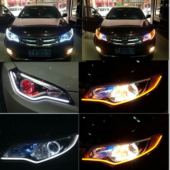 2pc/lot 60cm Drl Flexible Led Tube Strip Turn Signal Angel Eyes Car Styling White Yellow Double
