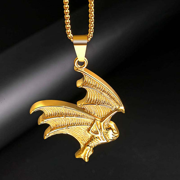 1PC Fashion Stainless Steel Bat-shaped Pendant Men's Necklace
