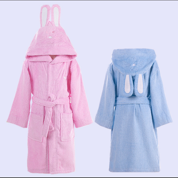Hooded Towel Child Bathrobe Kids Boys Girls Robe Cotton Lovely Bath Robes Dressing Gown Roupao