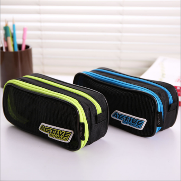 Double-layer Large-capacity Pencil Case Mesh Cloth Pencil Case School Office Supplies