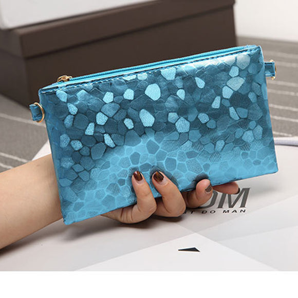 Women Wallet Stone Pattern Clutch Bag Casual Shoulder Slung Purse
