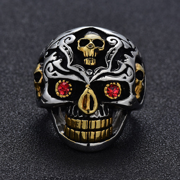 1PC Punk Red Eyes Skull-shaped Alloy With Rhinestone Men's Ring
