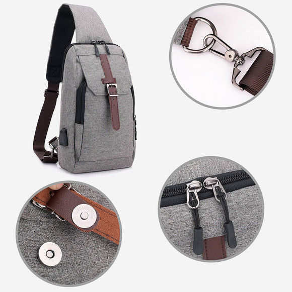 Vintage Men Chest Bag Fashion Usb Shoulder Bags Casual Storage Bags
