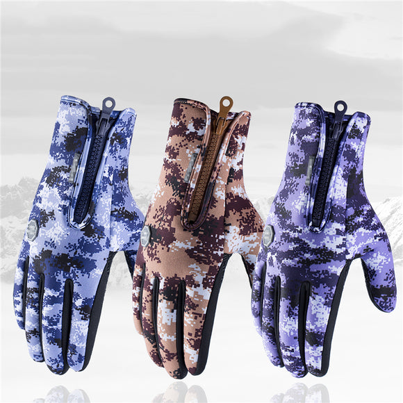 Outdoor Bicycle Warm Riding Plus Velvet Cold Wind Skiing Fleece Touch Screen Gloves