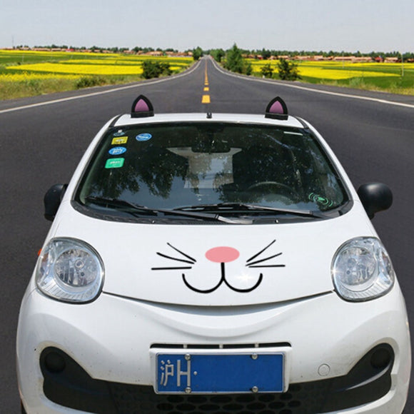 A Pair 3d Cat Ear Car Truck Roof Stickers Decal Decorations For Mini Car Styling Accessories