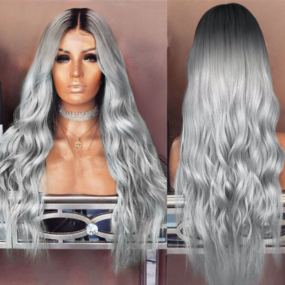 Long Wavy Center Parting Dark Root Enchanting Synthetic Wig