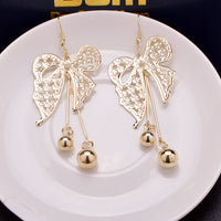 1 Pair Vintage Bowknot with Beads Exaggerated Frosted Earrings Fashion Jewelry