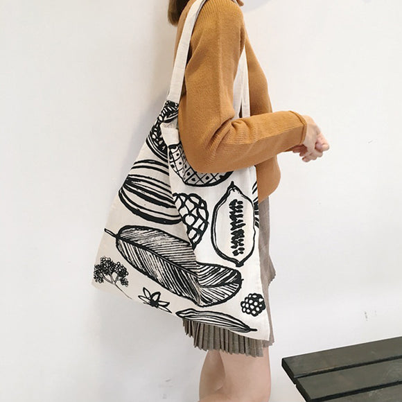 Woman Large Leaves Of Printing Canvas Shoulder Bag