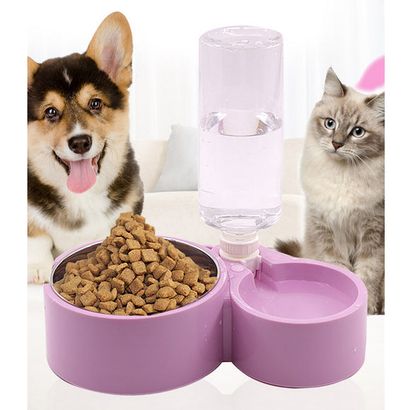 Stainless Steel Cat And Dog Pet Double Bowl Water&Food